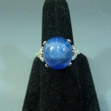 SUPERB 14K WHITE GOLD STAR SAPPHIRE RING 15 CARATS