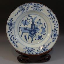 ANTIQUE CHINESE BLUE WHITE PORCELAIN PLATE - KANGXI PERIOD