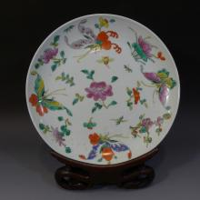 ANTIQUE CHINESE FAMILLE ROSE PORCELAIN PLATE - 19TH CENTURY