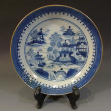 ANTIQUE CHINESE BLUE WHITE PORCELAIN PLATE - 18TH CENTURY