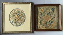 TWO OF  CHINESE  SILK EMBROLDERY PANELS WITH FRAMES