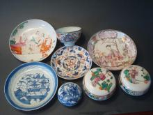 ANTIQUE Chinese Plates, Bowls, Boxes, 18th/19th C.
