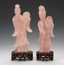 Pair of Antique Chinese Rose Quartz Guanyin