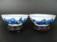 Pair of Antique Chinese Blue and White Porcelain Bowls