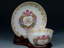 Chinese Export Armorial Porcelain Cup and Saucer.