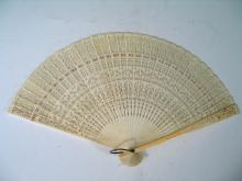 Chinese Export Carved Bone Fan