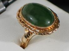Chinese Green Jade Silver Ring
