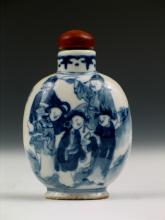 Antique Chinese Blue and White Porcelain Snuff Bottle,