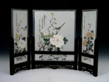 Chinese Glass Table Screen with Water Color Painting on