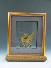 Vintage Framed Chinese Brass Figure of A Flying Dragon.