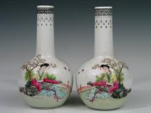 Pair of Chinese Famille Rose Porcelain Vases, Qianlong