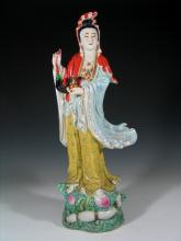 Chinese Famille Rose Porcelain Figure of Guanyin.