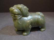 ANTIQUE CHINESE CARVED CELADON JADE FOO DOG 19TH CENTURY