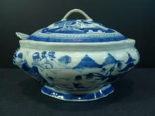 RARE CHINESE ANTIQUE BLUE WHITE PORCELAIN TUREEN EARLY 19TH CENTURY