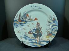 VERY FINE LARGE ANTIQUE CHINESE IMARI PORCELAIN CHARGER. KANGXI PERIOD