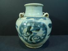 CHINESE ANTIQUE BLUE WHITE PORCELAIN JAR MING DYNASTY
