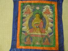 TIBETAN CHINESE BUDDHIST THANGKA - 19TH CENTURY