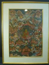 ANTIQUE SINO-TIBETAN THANGKA - 19TH CENTURY