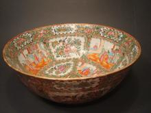 Antique Chinese Rose Medallion Punch Bowl, 16