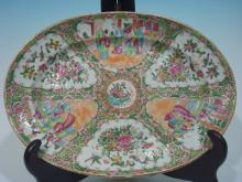 Antique Chinese Large Rose Medallion Platter, 16