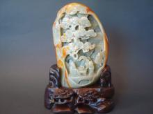 Chinese Celadon Grey White Jade Boulder carvings