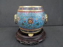 Antique Chinese Cloisonne Censer, Qianlong mark. 14 cm high x 13 cm wide.