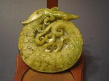 Antique Chinese Geen Jade carvings with dragon. 3 1/8