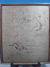 Old Chinese Embroidery in Frame. Early 20th C. 25