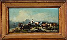 JOLI FAUSTINO (1814 - 1876) Rural Scene with Oxen.
