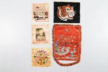 Arte Cinese Five fabrics emboidered with people or animals China/Vietnam, 19th - 20th century