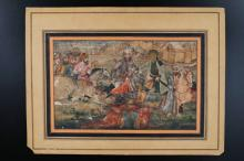 Arte Islamica A maniature painting with Ali in a battle Iran, late 18th century