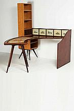 MANDOLINI GIORGIO (n. 1913) Desk complete with matching bookcase and wall unit.