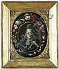 Ritratto di Cosimo III De Medici in una ghirlanda di fiori.