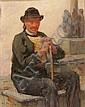 Uomo seduto con bastone.