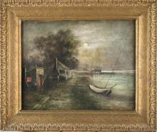 S. Pearsall, Painting of Boats in the Moonlight