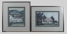 Pair of Pastels of White Houses, Signed Owen