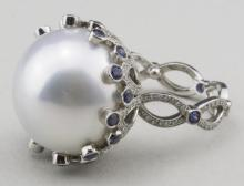 South Sea Pearl, Sapphire and Diamond Ring