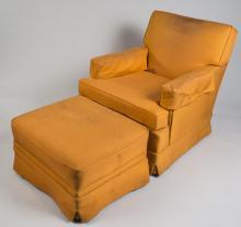 Orange Lounge Chair and Ottoman