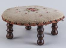 Needlepoint Upholstered Footstool