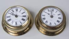 Two Brass Hoegh Lines Ship's Clocks