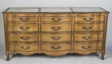 French Provincial Style Marble Top Triple Dresser