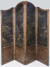 Four Panel Chinese Floor Screen
