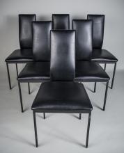 Set of Six Black Vinyl Chairs