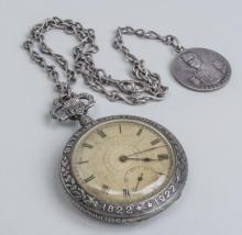 Commemorative Silver Pocket Watch and Medal   *