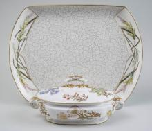 Royal Worcester Porcelain Tray and Covered Dish  *