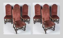 Set of Eight Jacobean Style Dining Chairs