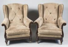 Pair of Suede Armchairs