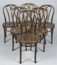 Set of Six Bent Wood Chairs