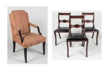 Mahogany Library Chair and Three Side Chairs