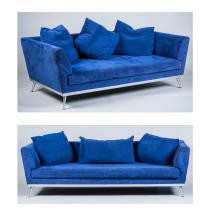 Contemporary Blue Sofa and Love Seat